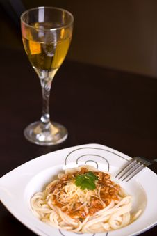 Free Spaghetti And Wine On Table Royalty Free Stock Photo - 4186515