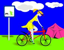 Free The Girl - Lady Going On A Bicycle Stock Image - 4186561