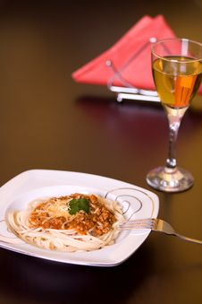Free Spaghetti And Wine On Table Stock Photo - 4186840