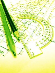 Free Pencils, Protractor And Drawings Stock Image - 4187491