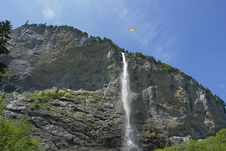 Free Swiss Waterfall, Paragliding Stock Photo - 4187710