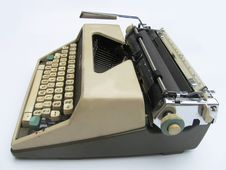 Old Typewriter - Side View Royalty Free Stock Photography