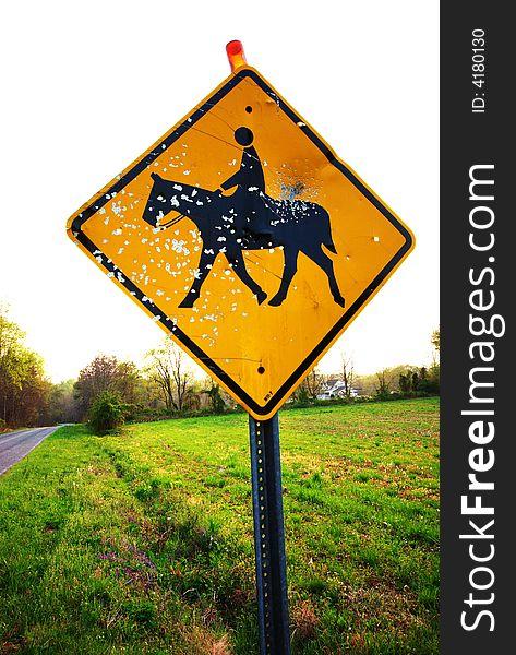 Vandalized Horse sign