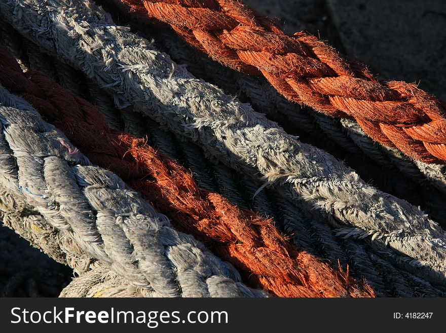 Red and white ropes