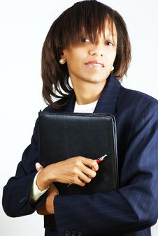 Free Business Woman With Black Folder Royalty Free Stock Images - 4191049
