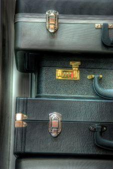 Packed Leather Dark Valises. Royalty Free Stock Image
