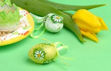 Free Easter Eggs And Tulip Royalty Free Stock Image - 4192556