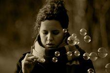Beautiful Woman, Soap Bubbles Stock Image