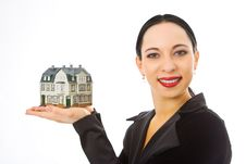 Free Woman With Little House On Hand Stock Photography - 4193202