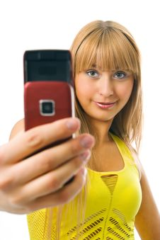 Woman Photograph With Cellphone Royalty Free Stock Photos