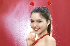Free Smiling Pretty Woman With Hearts Royalty Free Stock Image - 4193896