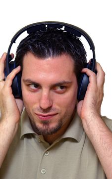 Free Man Listening To Music On Headphones Stock Images - 4196844
