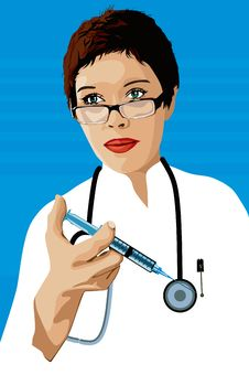 Doctor With A Syringe Royalty Free Stock Photos