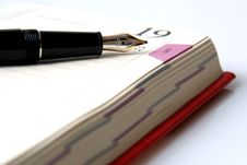 Fountainpen And Diary Stock Photography