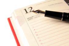 Fountainpen And Diary Royalty Free Stock Photo