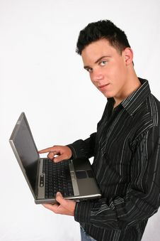 Free Businessman With His Laptop Stock Photography - 420302