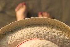 Free Straw Hat At The Beach Stock Image - 421391