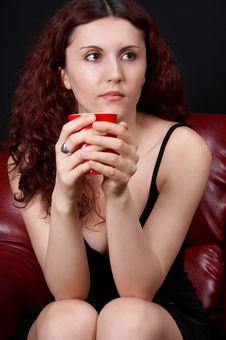 Free Girl Drinking Coffee Stock Image - 422441