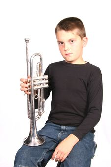 Free Child Holding Trumpet Royalty Free Stock Photography - 424577