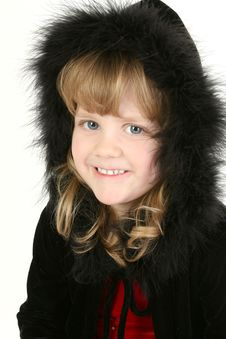 Free Beautiful Four Year Old Girl In Feather Hooded Sweater Stock Image - 427281