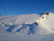 Free Snow Dunes And Tracks Royalty Free Stock Photography - 427377