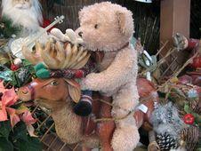 Free Bear On Reindeer Royalty Free Stock Image - 429486