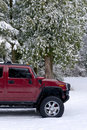 Free Off Road Hummer H2 In The Snow Royalty Free Stock Photography - 4203897