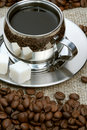 Free Cup Of Coffee With Lump Sugar And Beans Stock Images - 4207744