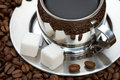 Free Cup Of Coffee With Lump Sugar And Beans Royalty Free Stock Photos - 4207758
