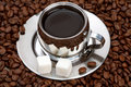 Free Cup Of Coffee With Lump Sugar And Beans Stock Image - 4207821