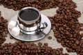 Free Cup Of Coffee With Lump Sugar And Beans Stock Image - 4207901