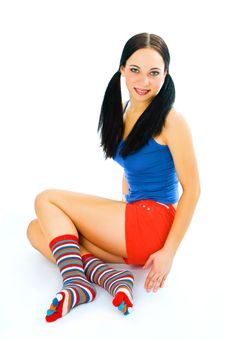 Free Fitness Woman With Strip Sock Royalty Free Stock Images - 4200499