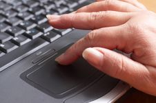 Free Mid Age Woman S Hands On The Laptop Royalty Free Stock Photos - 4202748