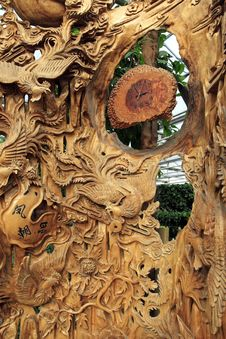 Chinese Wood Carving . Stock Image