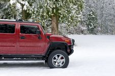 Free Off Road Hummer H2 In The Snow Stock Photography - 4203872