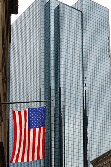 Free USA Flag And Tall Building Stock Image - 4203941