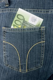 Free Euros In A Jeans Royalty Free Stock Photography - 4204557
