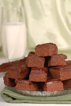 Free Plate Of Chocolate Brownies With A Glass Of Milk Royalty Free Stock Photo - 4204635