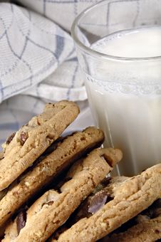 Free Chocolate Chip Cookies And Milk Royalty Free Stock Image - 4204886