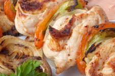 Chicken Kebab Closeup Stock Photography