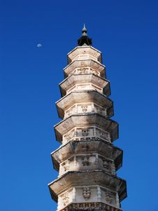 A Pagoda And The Moon Royalty Free Stock Photo