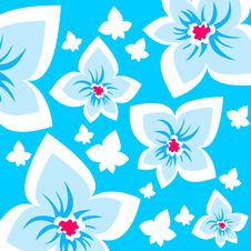 Free Blue Ornate Flowers Background Royalty Free Stock Image - 4206326