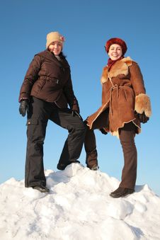 Free Two Young Woman On Snow Hill Royalty Free Stock Image - 4206476
