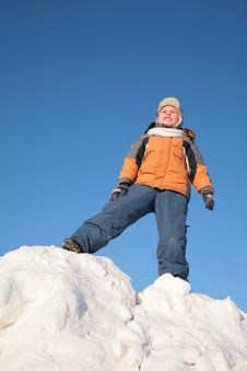 Free Boy Stands On Snow Hill Royalty Free Stock Photos - 4206618