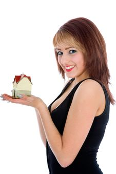 Free Business Woman Advertises Real Estate Royalty Free Stock Photography - 4207617