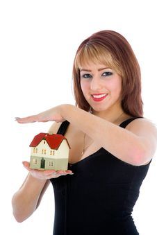 Free Business Woman Advertises Real Estate Stock Image - 4207621
