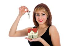 Free Business Woman Advertises Real Estate Royalty Free Stock Photography - 4207627