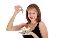 Free Business Woman Advertises Real Estate Stock Image - 4207631