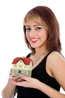 Free Business Woman Advertises Real Estate Royalty Free Stock Photography - 4207637