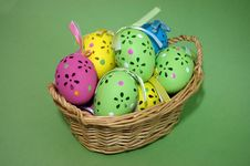 Free Easter Eggs In A Wicker Basket Royalty Free Stock Images - 4207659